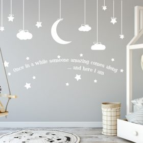Hanging clouds moon and stars with quote Wall Sticker