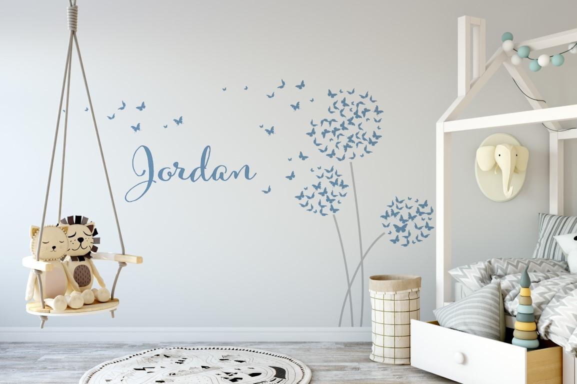 Butterfly dandelions name 1 wall sticker