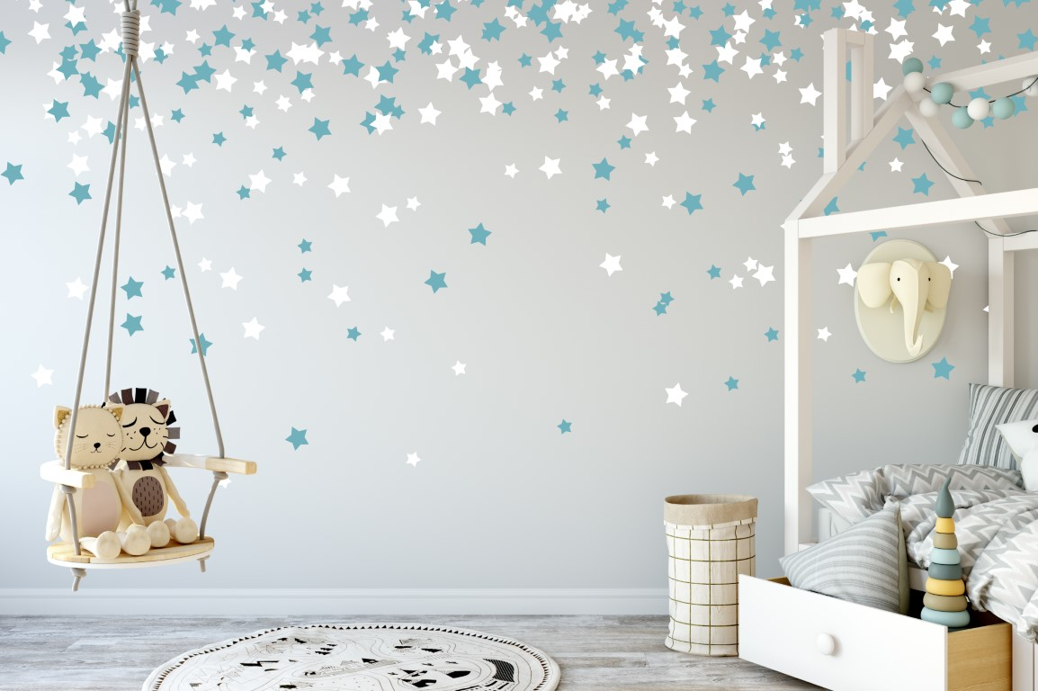 Romantic Bedroom Decor, Falling Stars, Romantic Wall