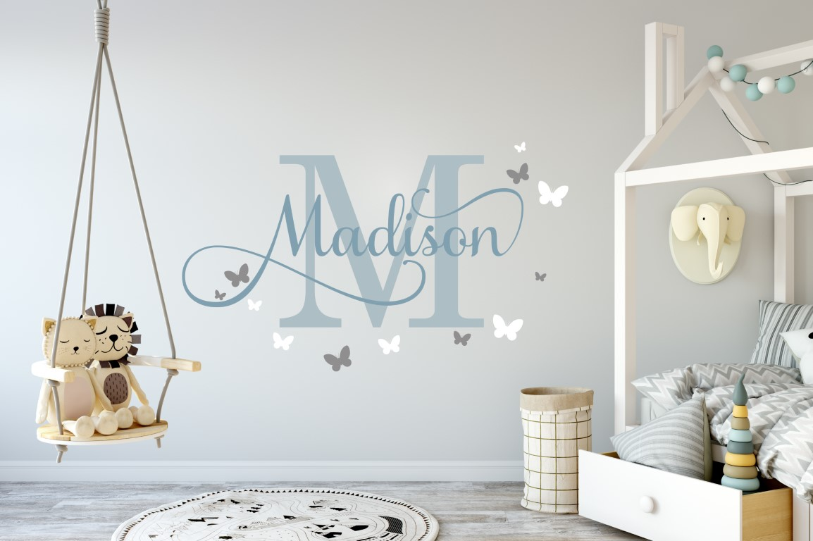 Girls Name With Butterflies 2 Wall Sticker
