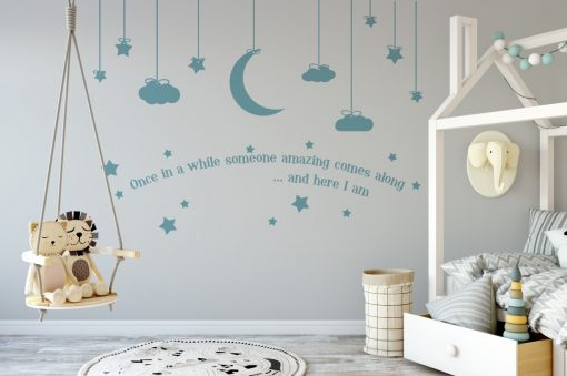 hanging moon stars and clouds with quote 2 Wall Sticker