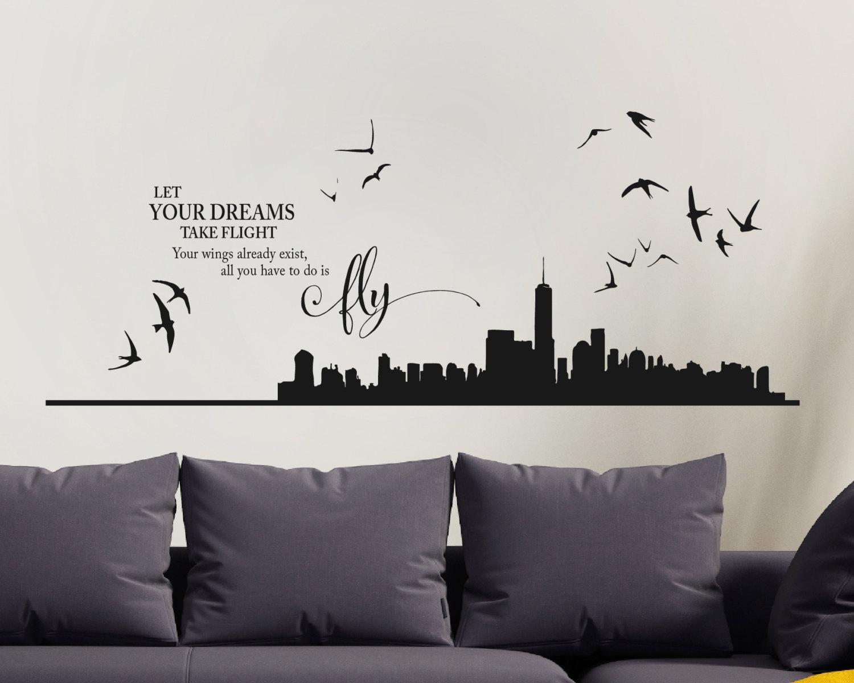 decorating ideas new york skyline wall stickers new york skyline