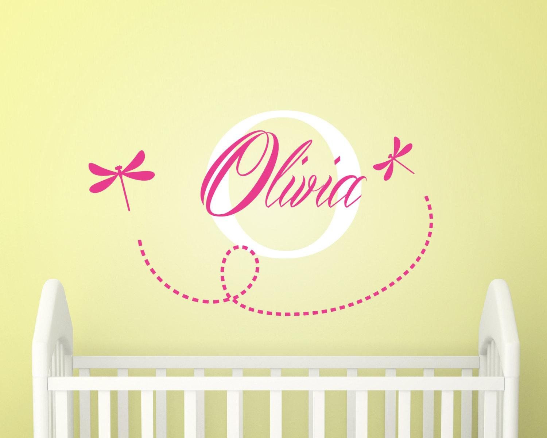 Girls Nursery Decor- Monogram Girls Wall Sticker- Personalised Girls ...