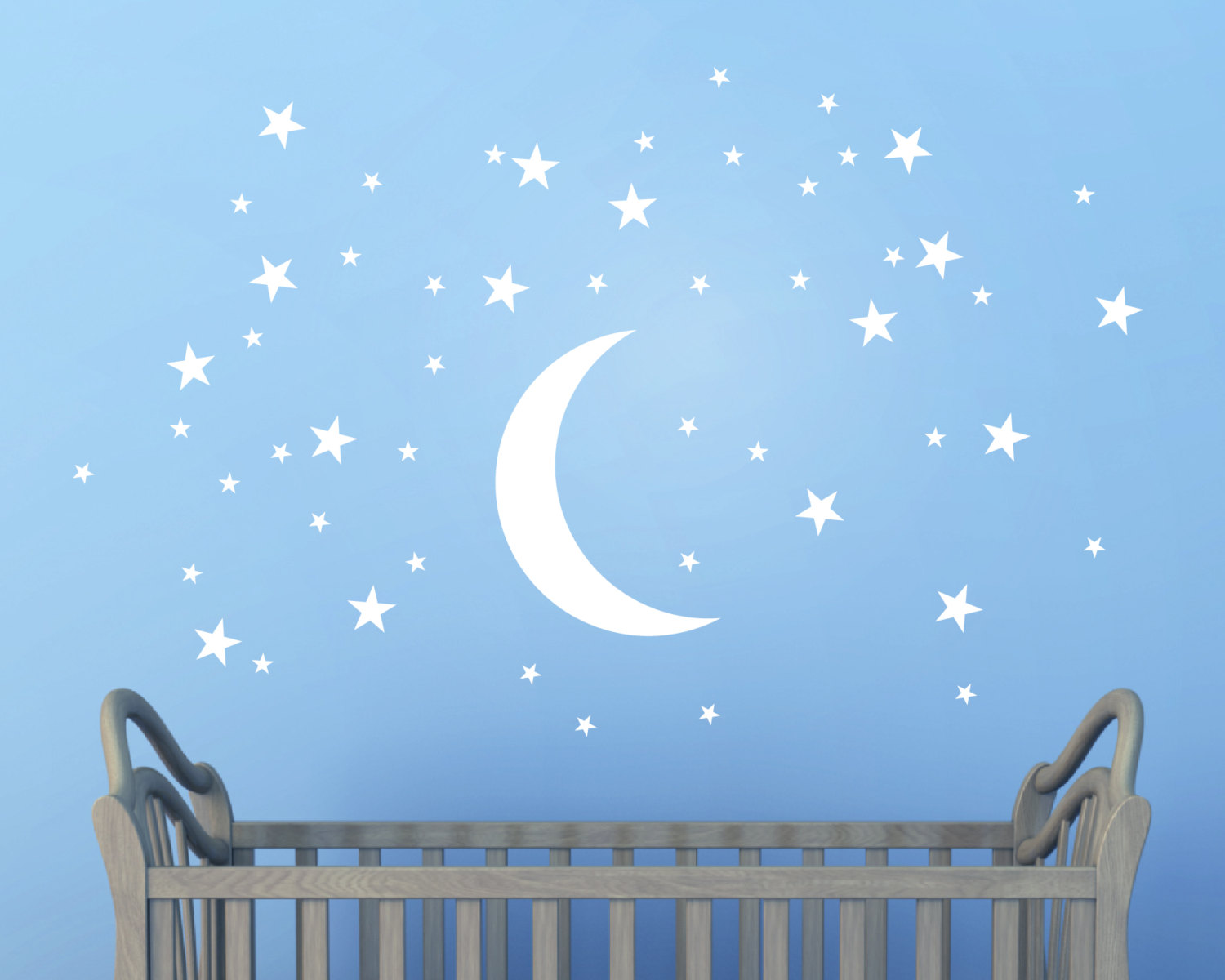 Childrens Bedroom Wall Stickers Removable Moon And Stars Wall Stickers Wall Murals Wall Art