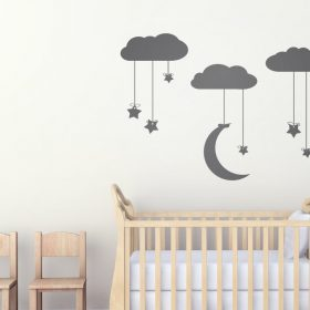 Hanging Staroon From Clouds Wall Art Stars Moon And Stickers Nursery Kids Urban Artwork