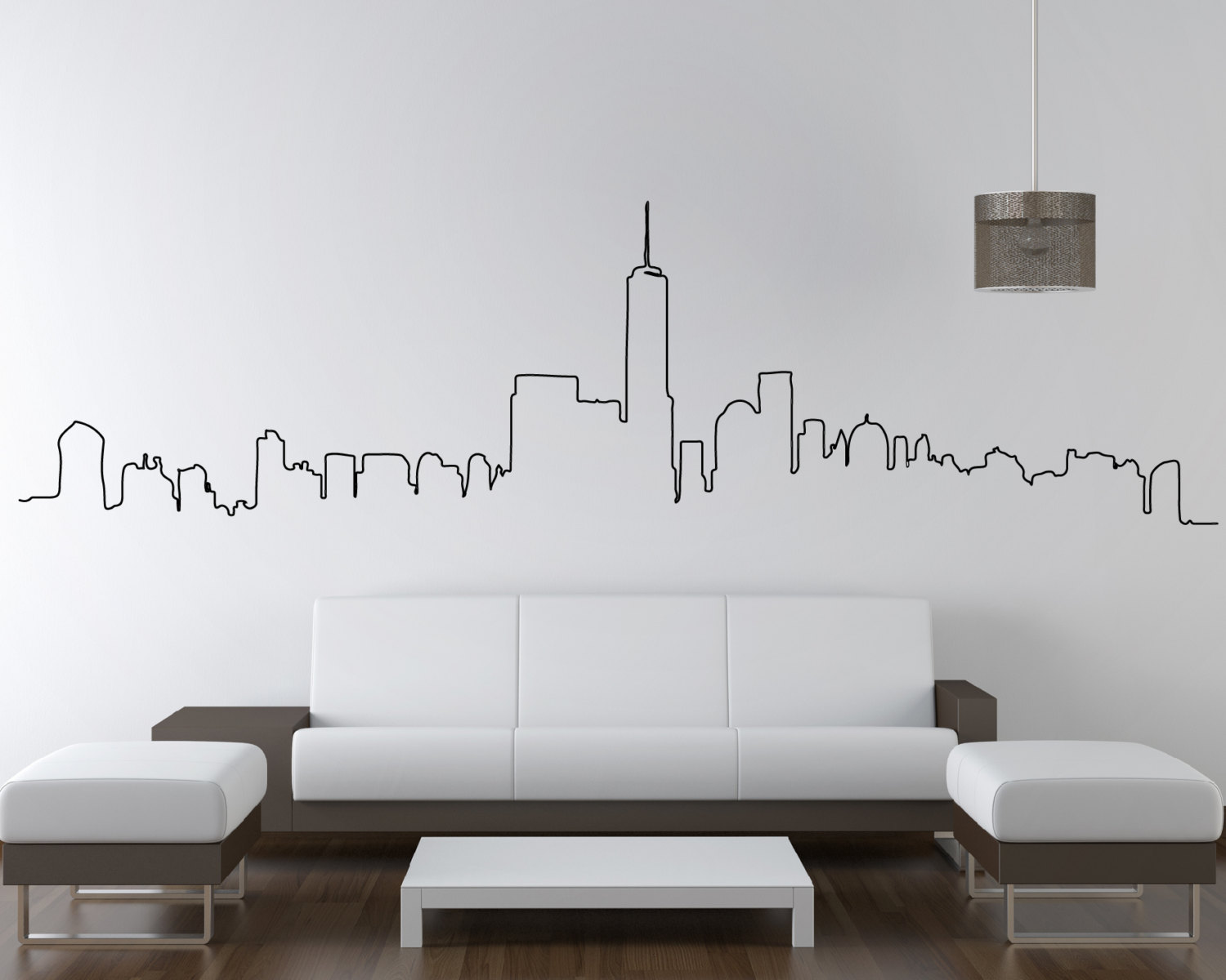 Wall Quote Stickers Bedroom Nyc Skyline New York City Skyline Wall Sticker City