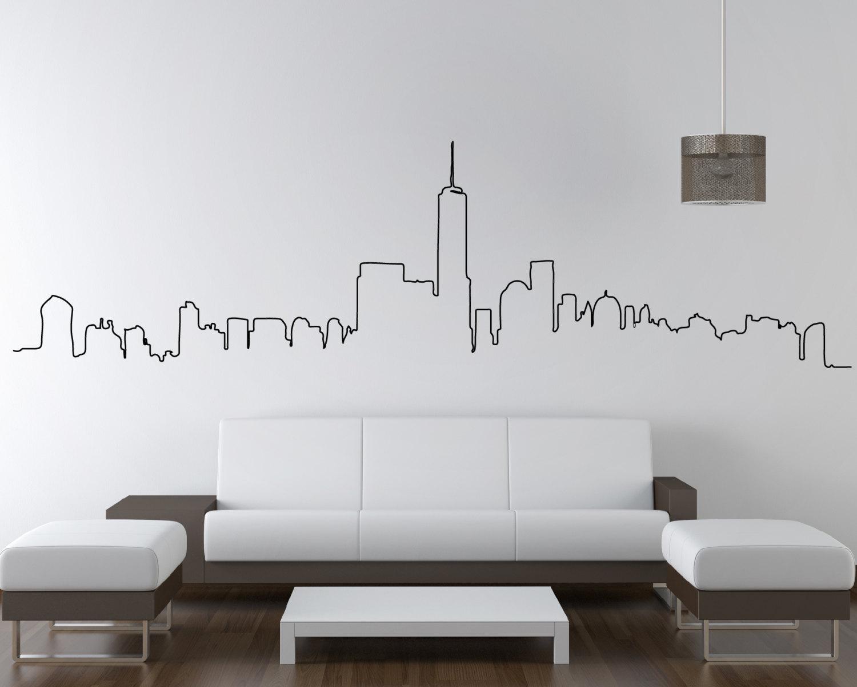 New York Skyline Wall Stickers New York Skyline Art New