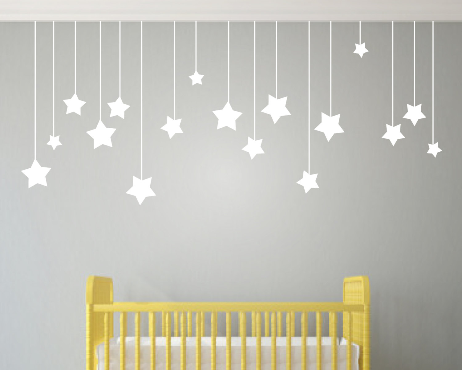 Hanging Stars Wall Stickers Even Longer Set Which Hangs