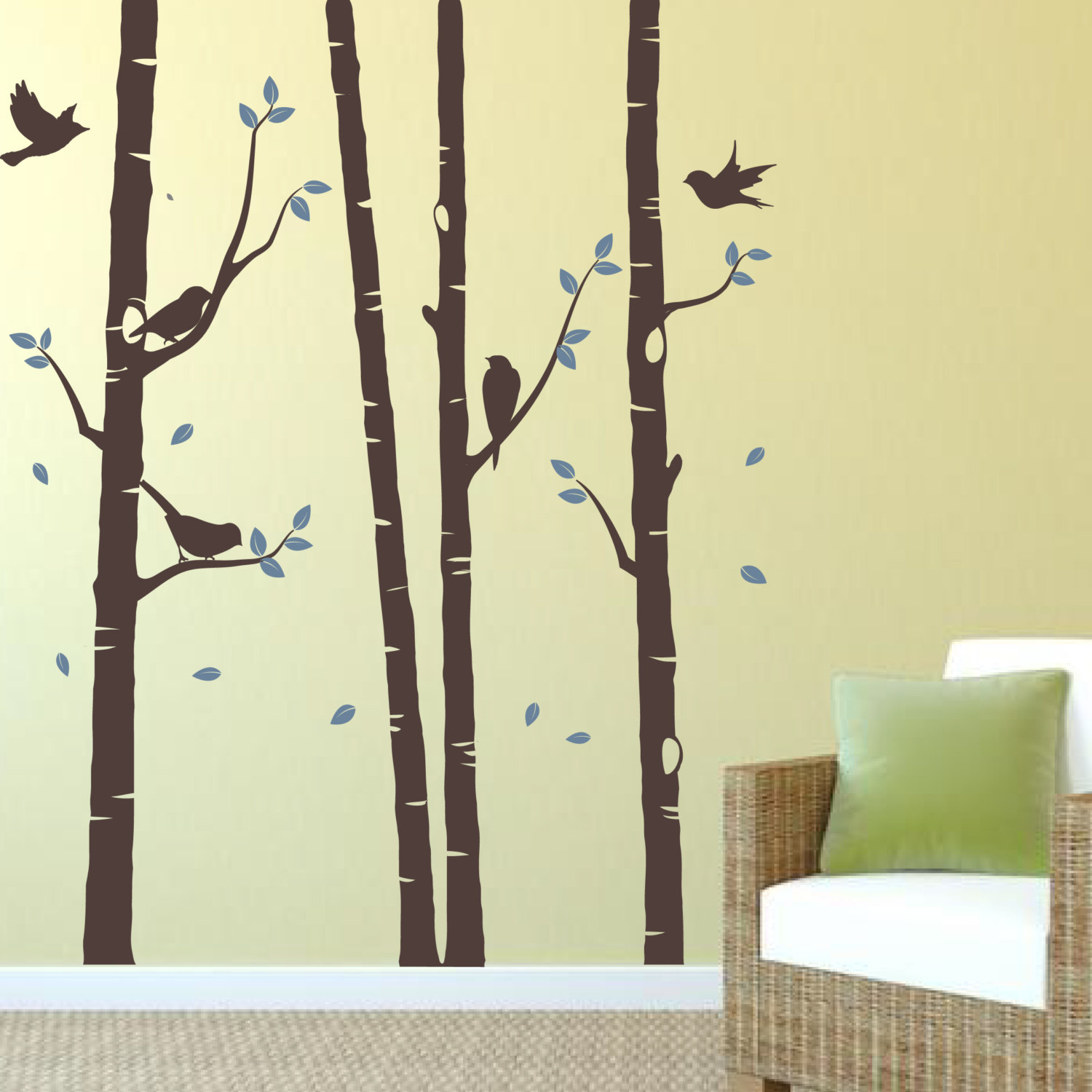 Birch Tree Decal With Birds, Trees Vinyl Stickers, Nature Wall Vinyl ...