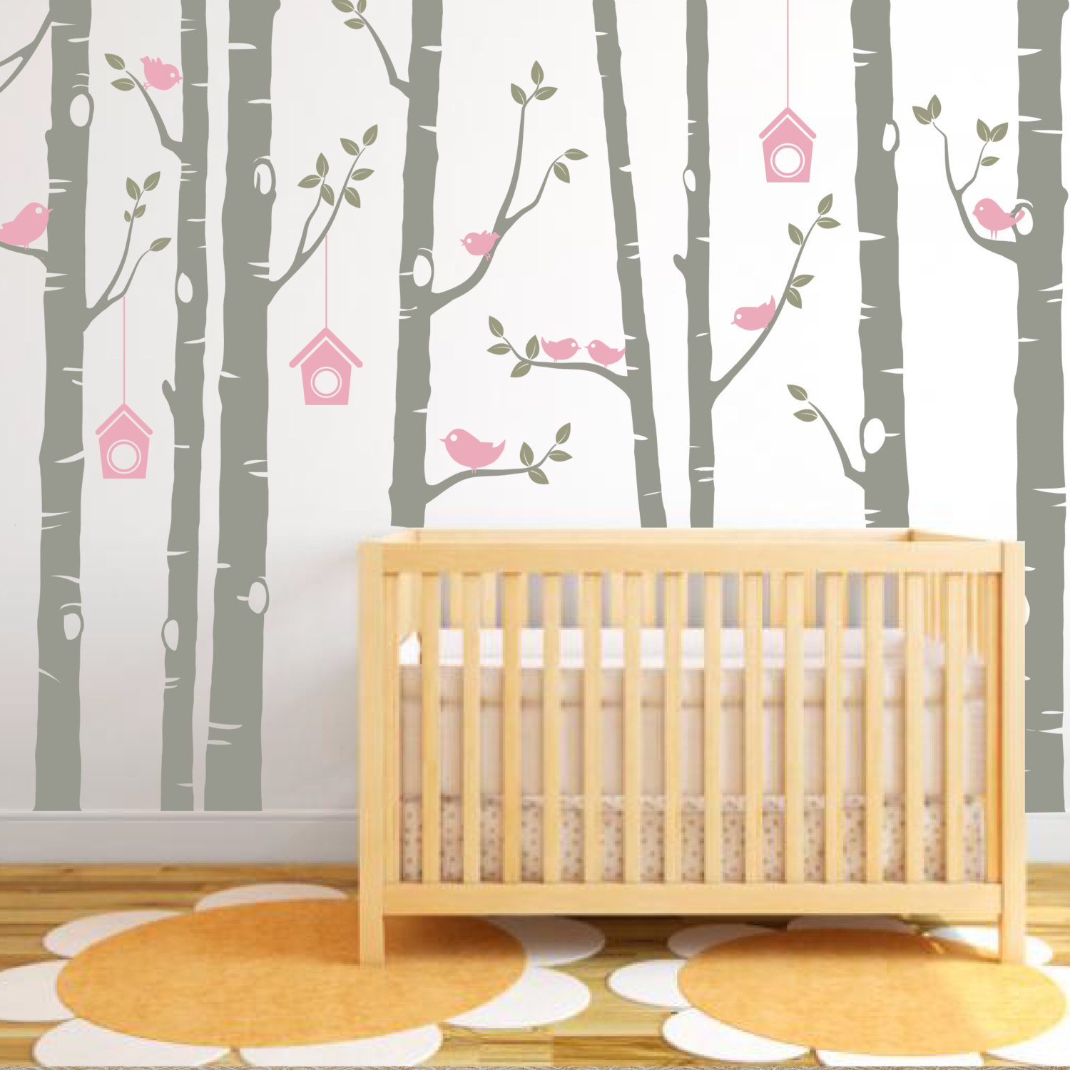 Birch Tree Decal, Birds Wall Sticker Set, Baby Nursery Wall Decals ...