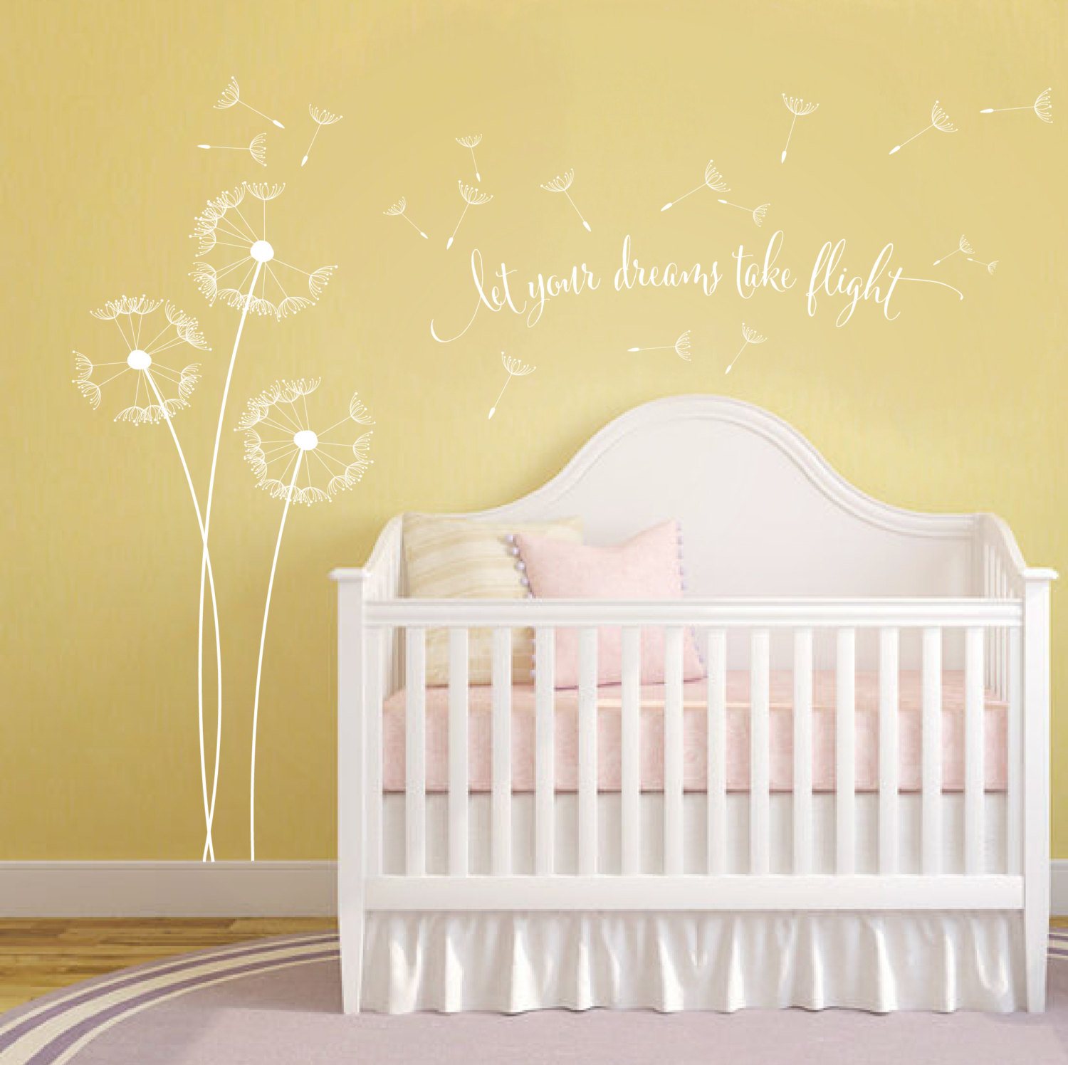 Dandelion Blowing with Quote Wall Sticker, Floral Sticker, Flower ...