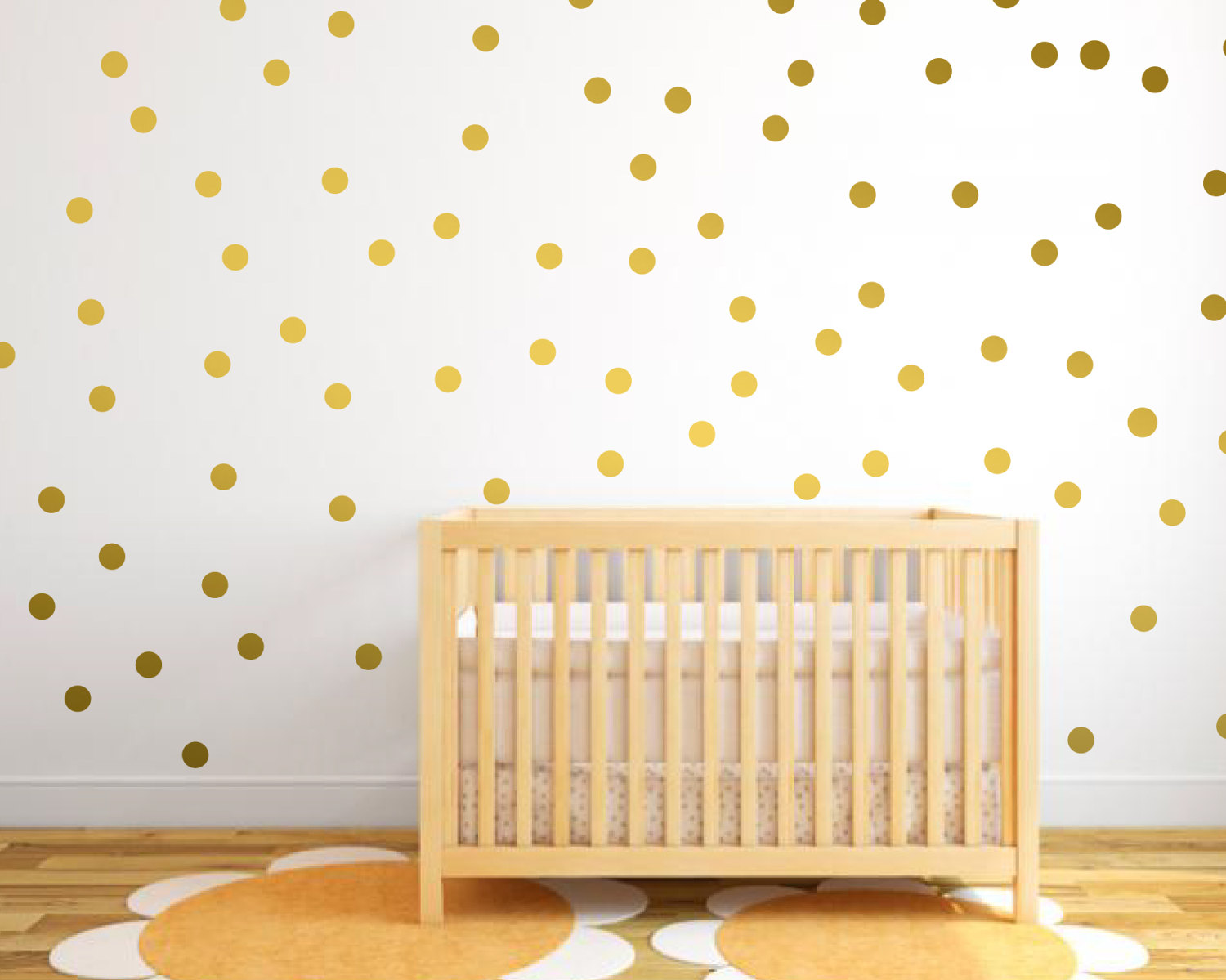 Metallic Gold Wall Stickers Polka Dots Wall Sticker Decor, Polka Dot ...