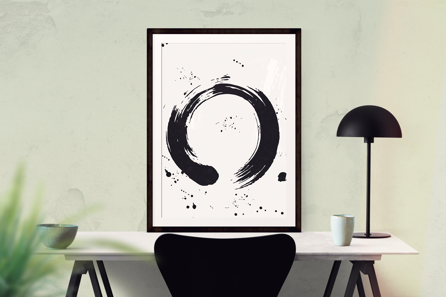 Zen brush stokes contemporary print zen art modern art for Modern minimalist wall art