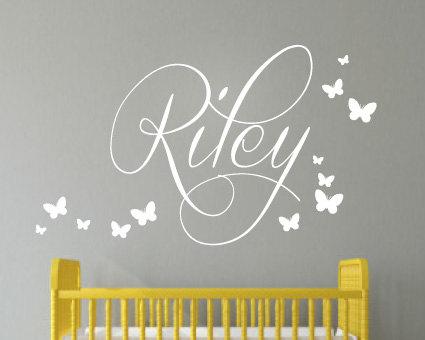 Kids Wall Sticker Nursery Personalised Name Erflies Childrens