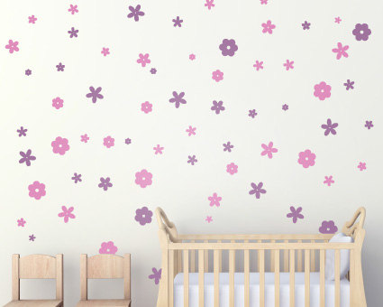 Set Of 100 Flower Wall Stickers ...