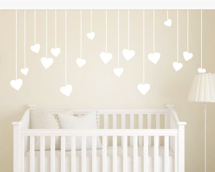 Hanging Love Hearts Wall Stickers U2013 Childrens ...