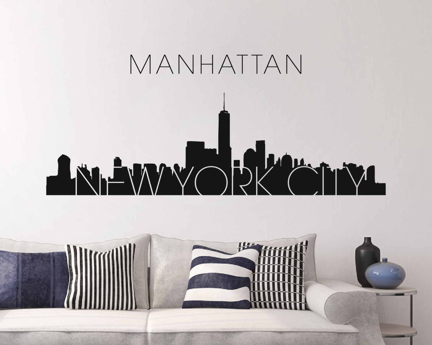 Charming New York Skyline Wall Sticker ... Pictures