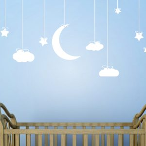 Childrens Wall Art Nursery Decor Stickers Kids Sticker Clouds And Stars Urban Artwork
