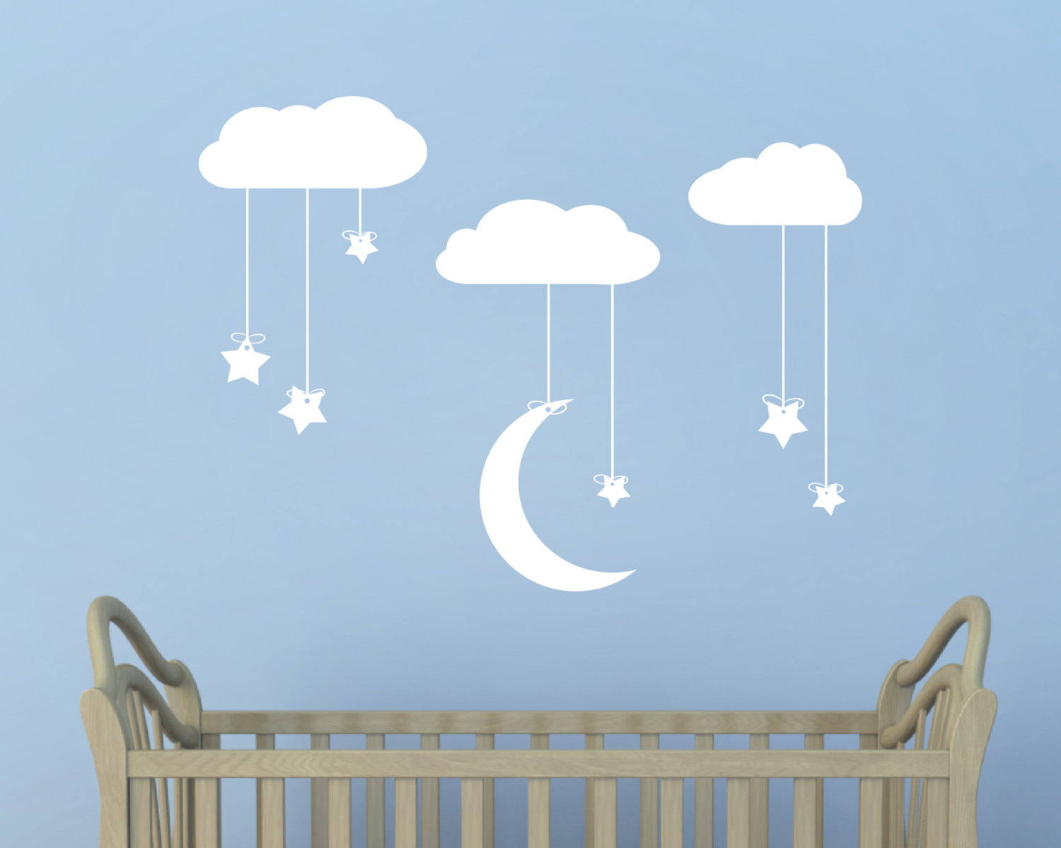 Hanging Stars And Moon From Clouds Wall Art Stars Moon And Clouds