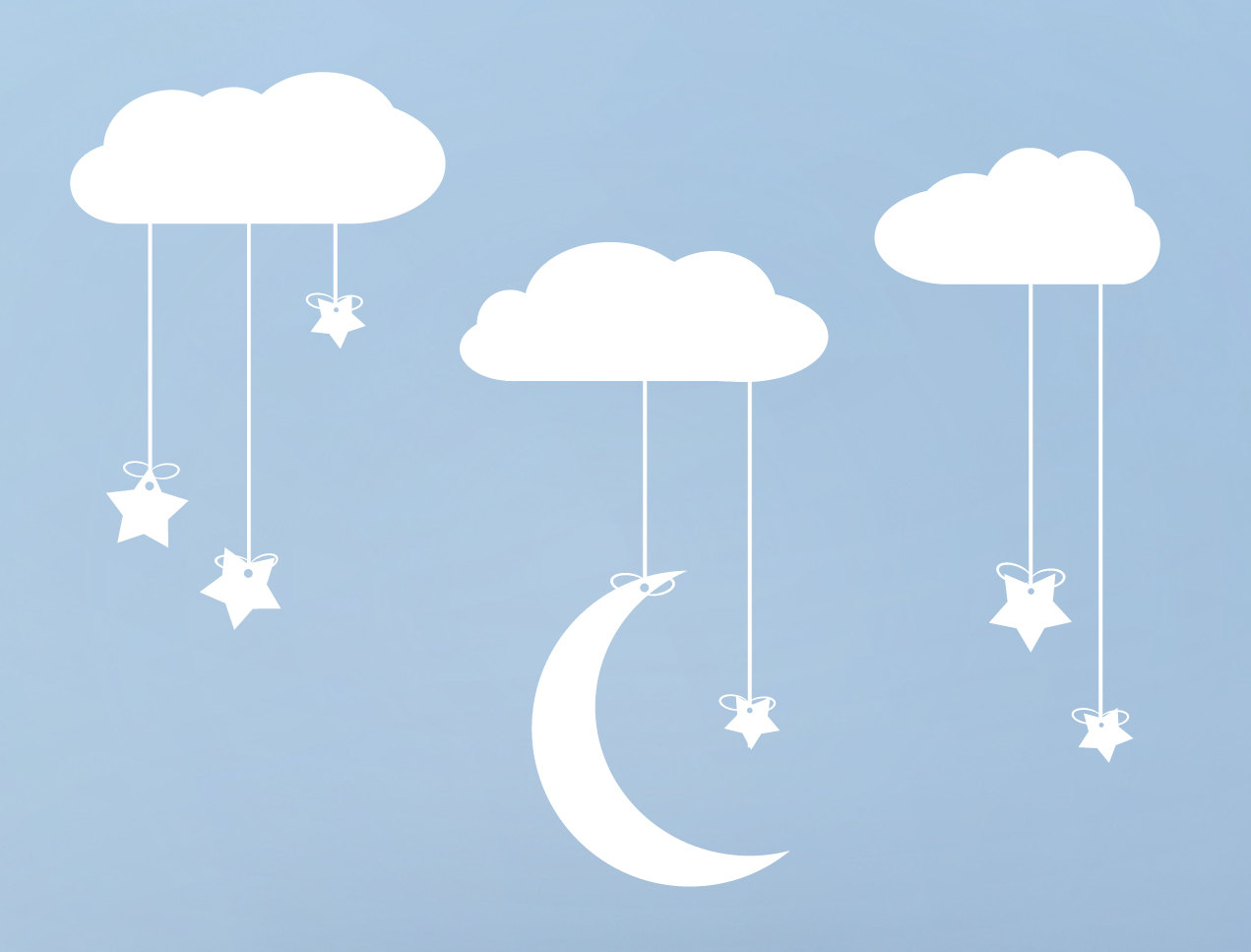 Hanging Stars And Moon From Clouds Wall Art Stars Moon