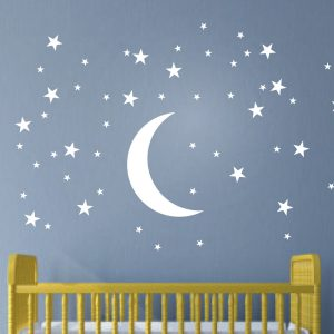 Moon And Stars Wall Art Stickers Nursery Large Pack Of 100 Staroon Urban Artwork