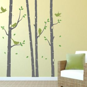 4 birch tree wall stickers with birds