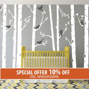 Birch Tree Wall Decal, Birch Tree With Birds Wall Sticker Set, Birch Tree  Decal, Baby Nursery Wall Stickers