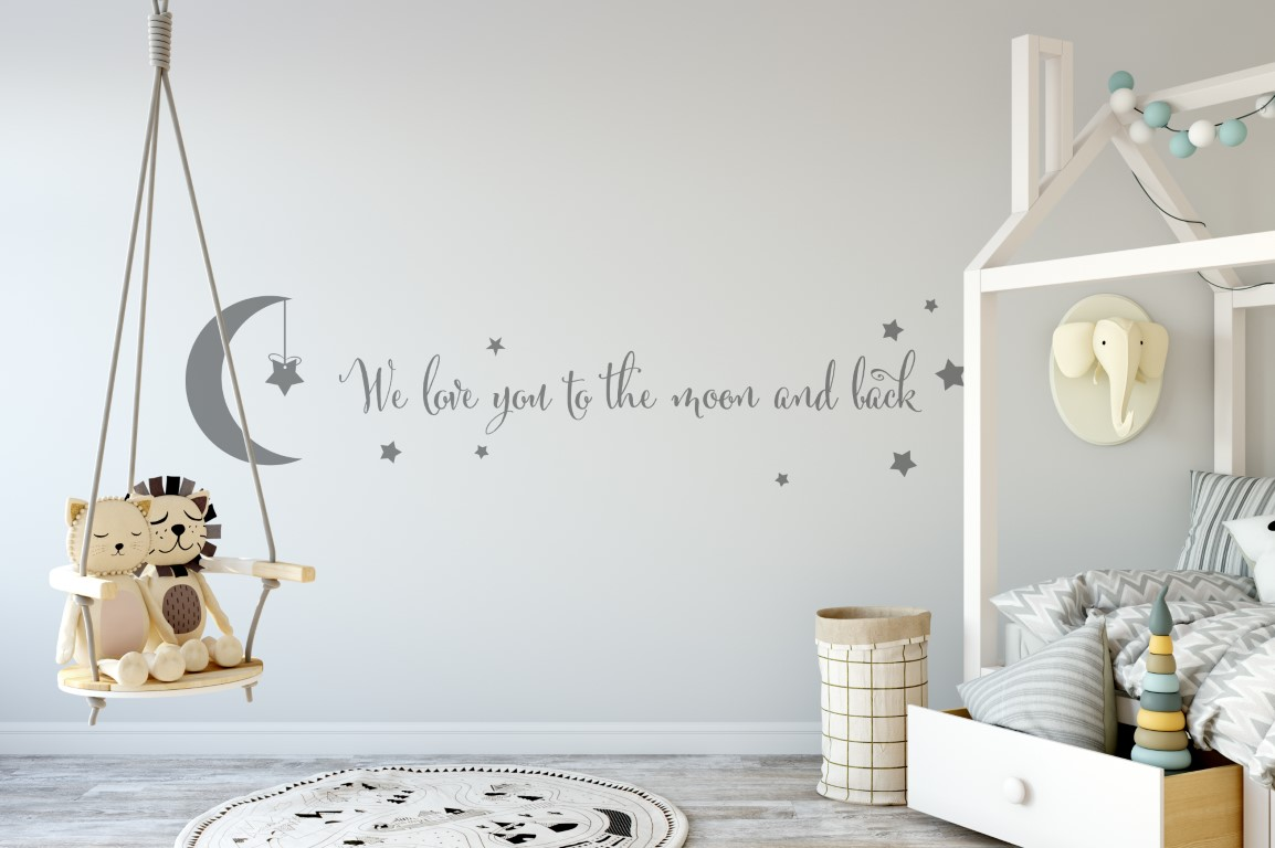 childrens wall decor nursery wall art we love you to the moon