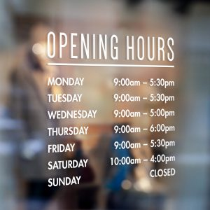 Opening Hours Sign Opening Times Sign Shop Window Sign Opening Times Window Sticker
