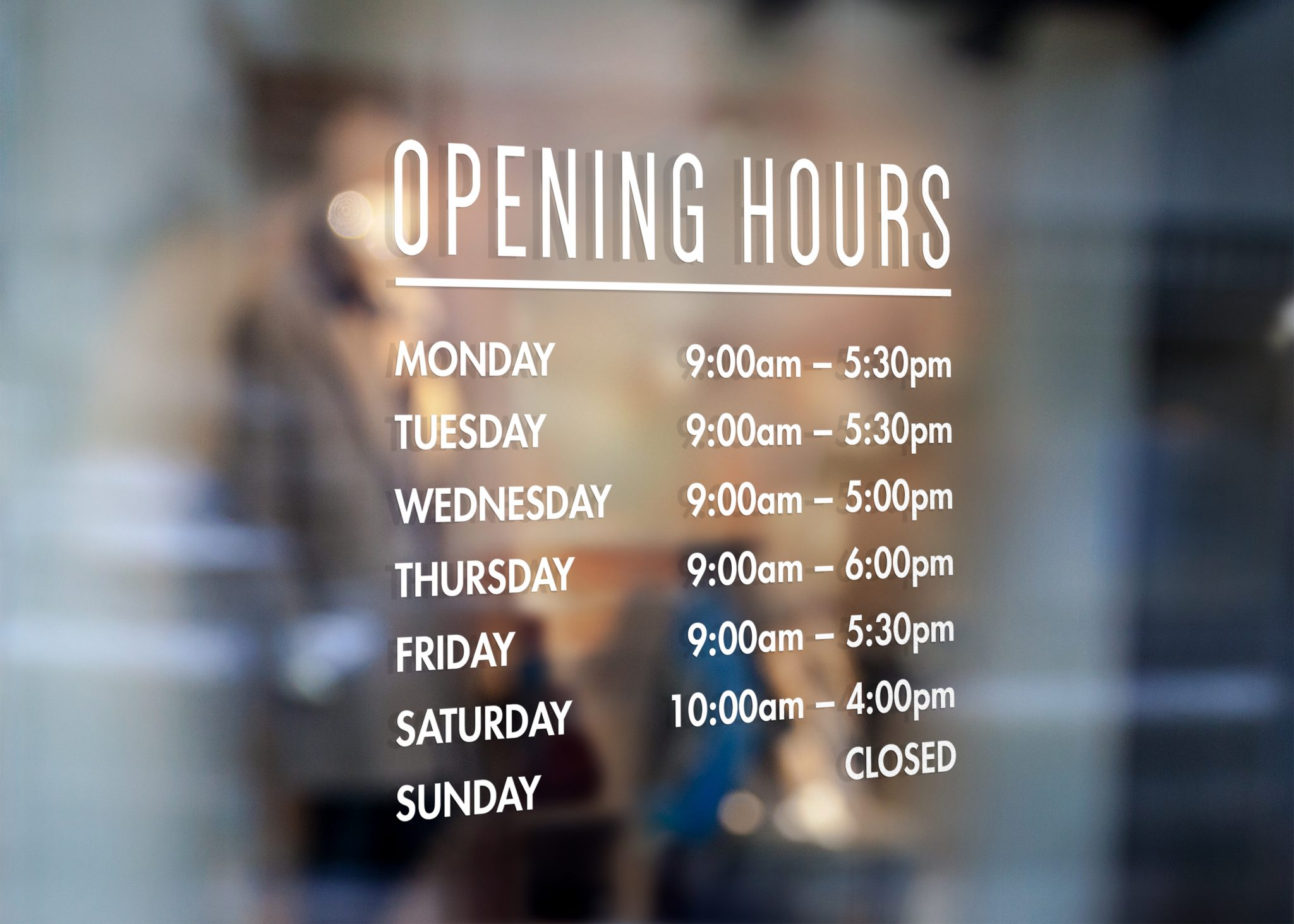 Custom Opening Hours Sign Opening Times Sticker For Your