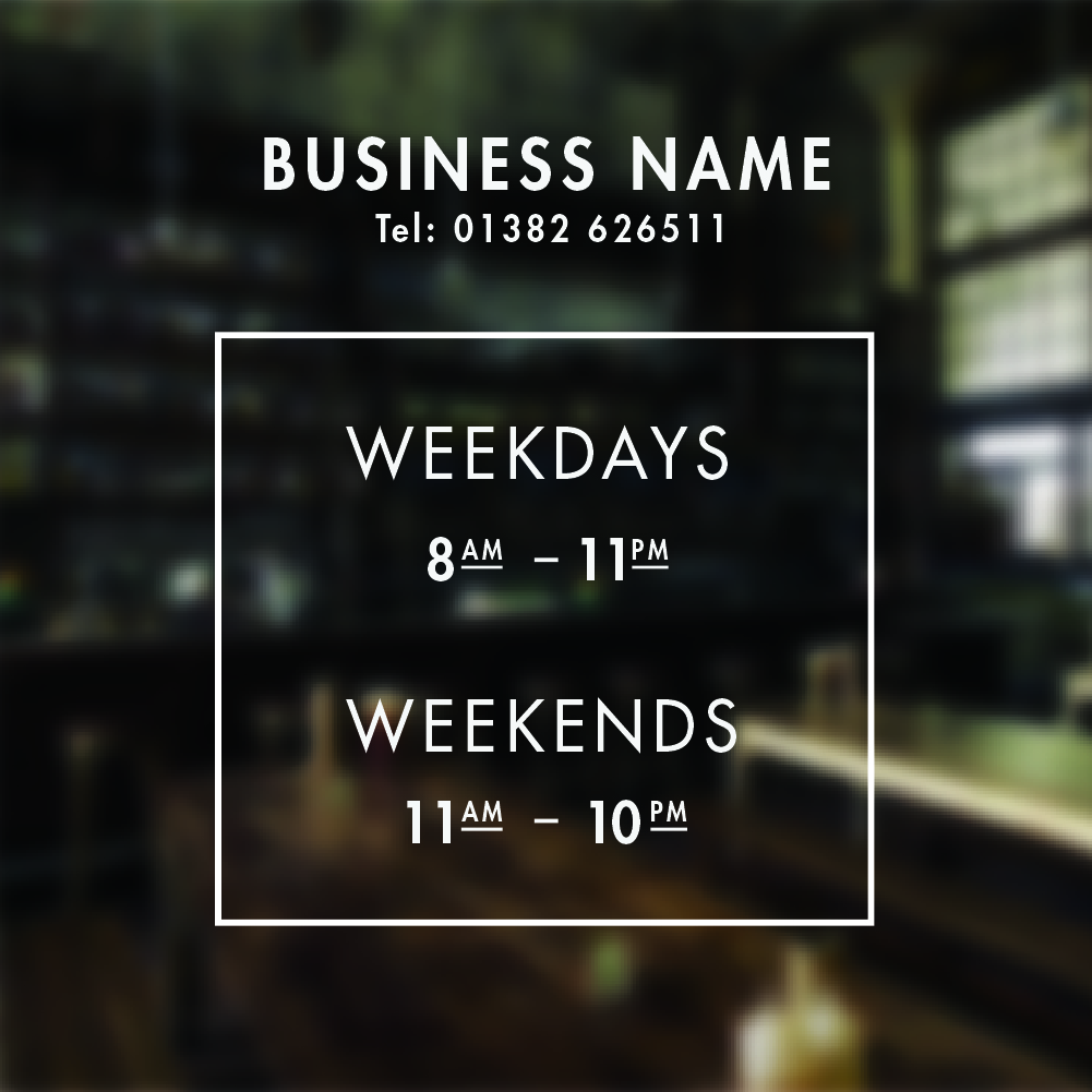 Opening Hours Sign Personalised Opening Times Sign For
