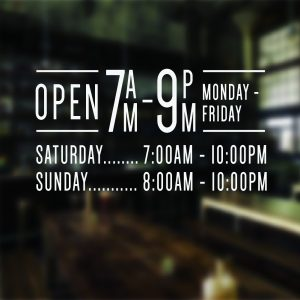 Opening Hours Times Shop Name Window wall Sign Vinyl Decal Transfer