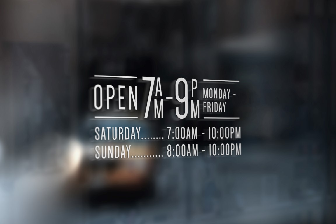 Opening Hours Times Shop Name Window Wall Sign Vinyl