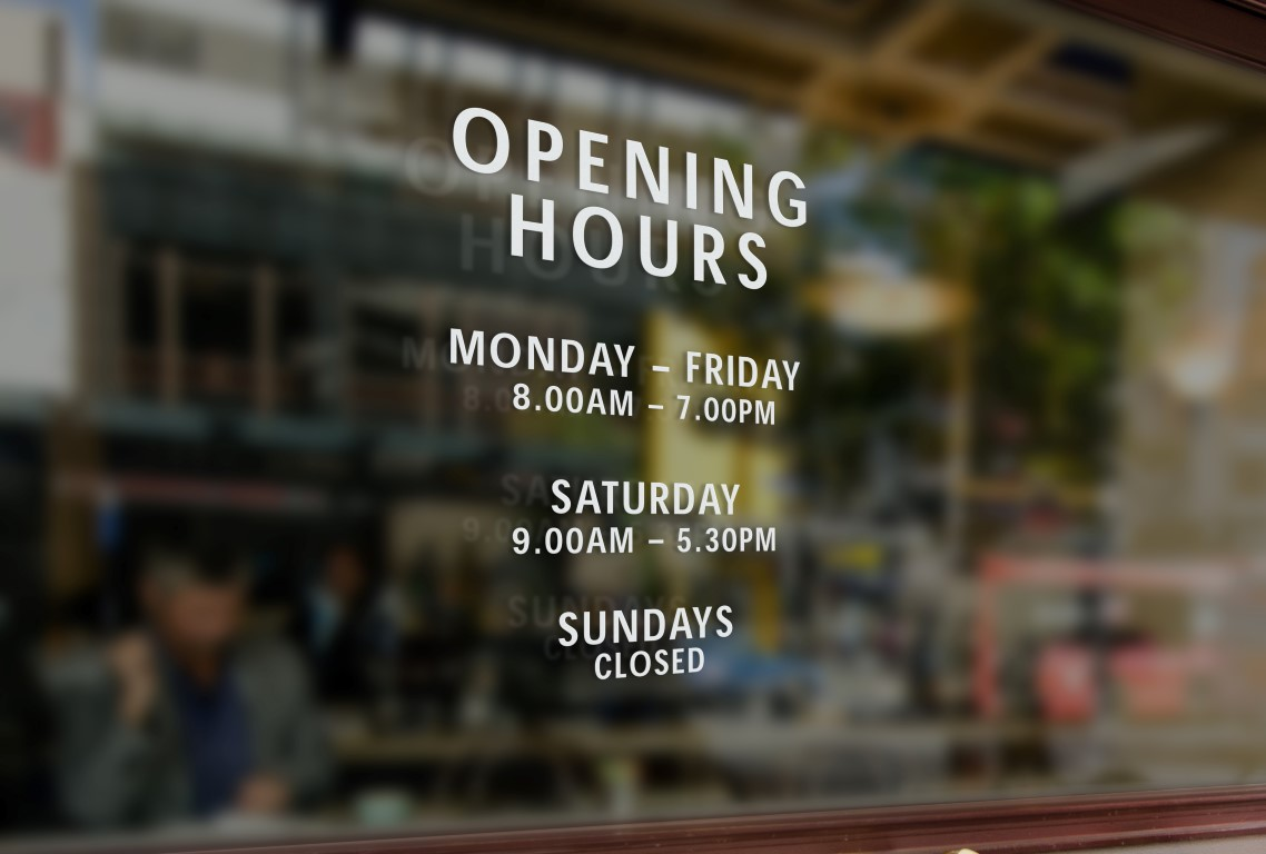 Opening Hours Times Personalised Customised Window Shop