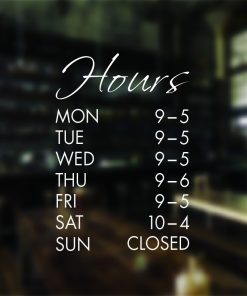 Opening Hours Times Shop Internal Window Wall Decal Sign Sticker