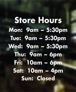 Opening Hours Times Shop Custom Vinyl Sign Sticker for your business, ideal for Coffee Shop, Bar, Hair Salon