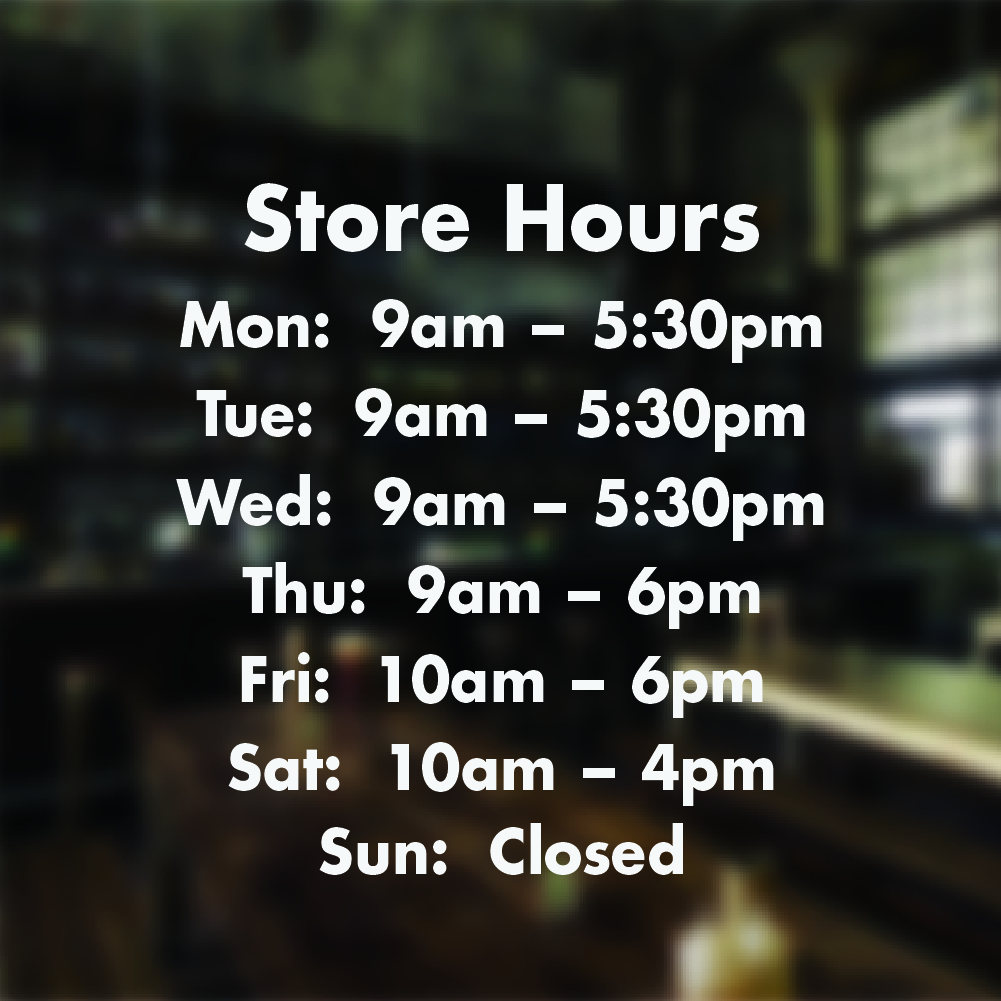 Opening Hours Times Shop Custom Vinyl Sign Sticker