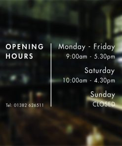 Business Opening Hours Times Custom Sign Shop Window Vinyl Sticker