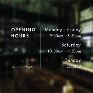 Business Opening Hours Times Custom Sign Shop Window Vinyl Sticker