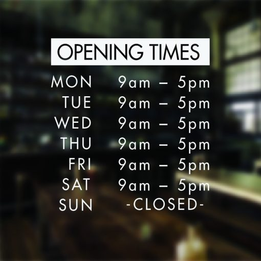 Custom Store Business Hours Store Hours Business Sign