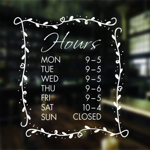 Floral Decorative Opening Hours Sign
