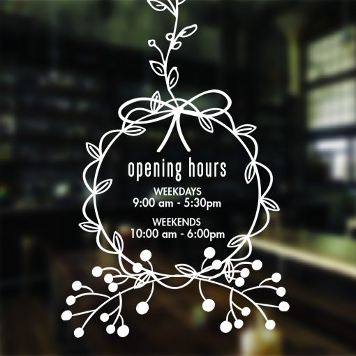 Floral Decorative Opening Hours Sign Sticker