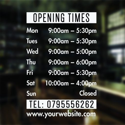 Opening Times Sticker Personalised Opening Hours Sign for Window Door or  Wall