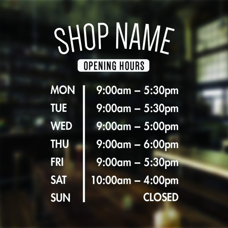 Open Business Hours Sign Personalised Open Business Hours