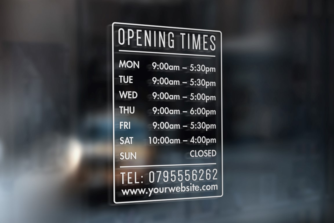 Opening Hours Times Shop Custom Vinyl Sign Sticker For