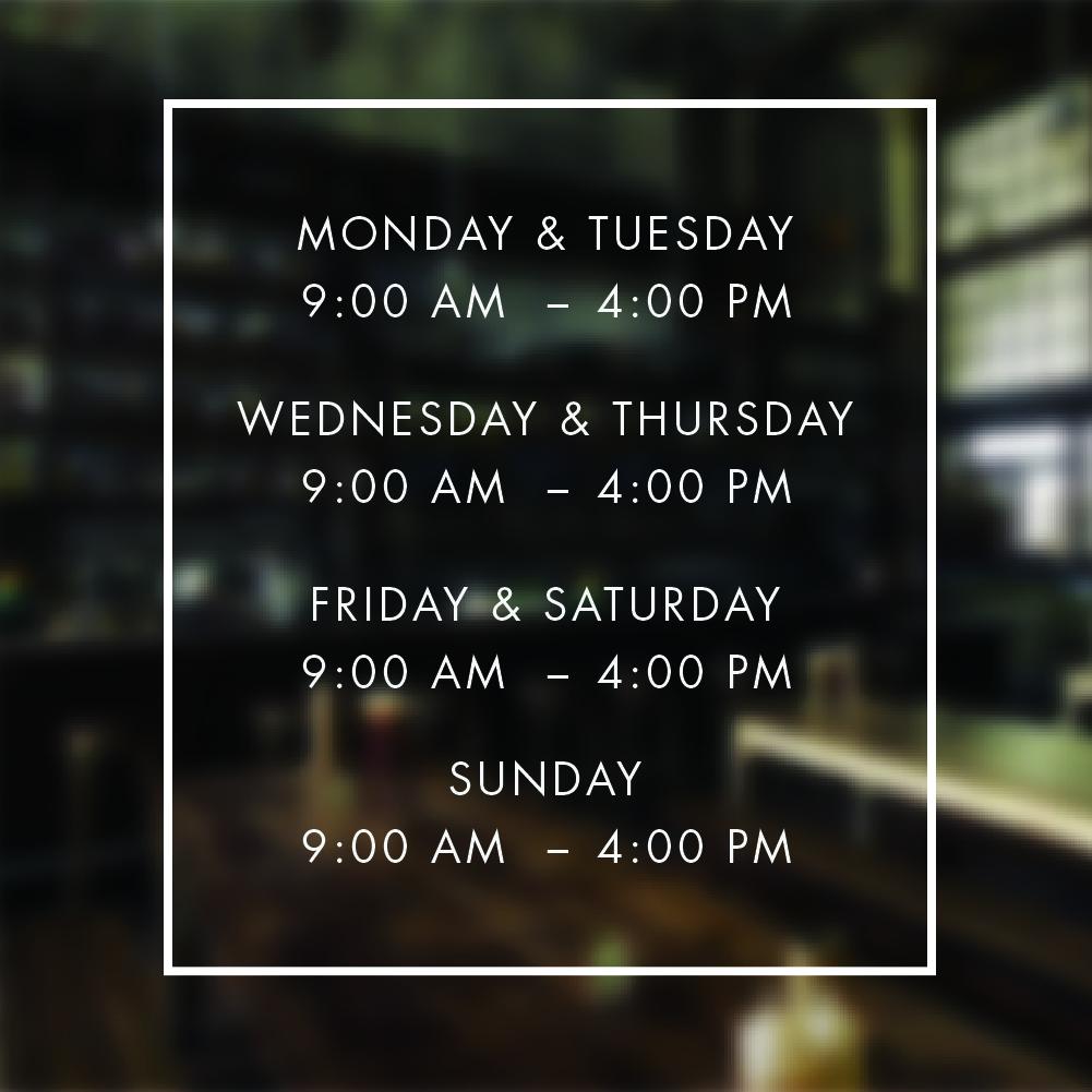 Lighting Warehouse Menlyn Trading Hours: Opening Hours Times Shop Custom Vinyl Sign / Sticker