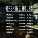opening hours sign window sticker