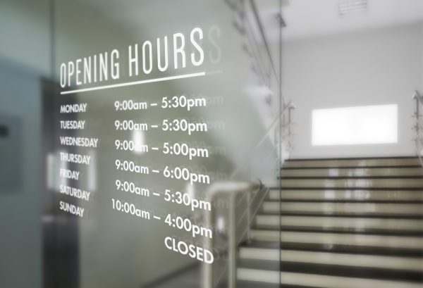 opening times sign sticker