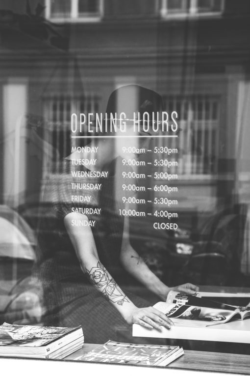 opening times sticker