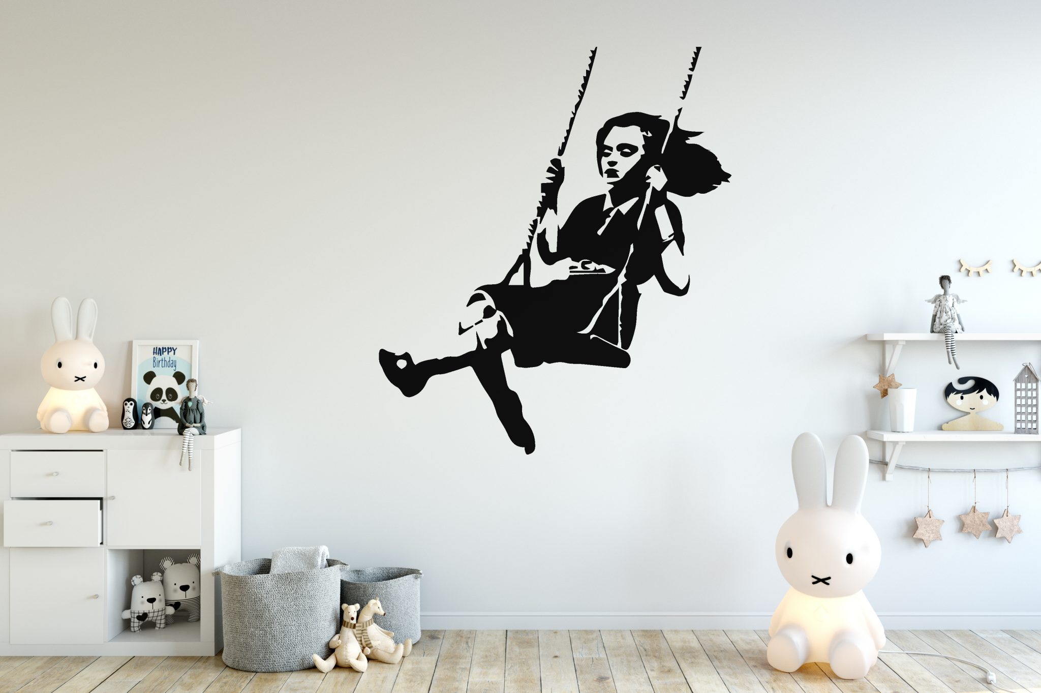 Banksy Girl Swing Wall Sticker Banksy Girl Stencil Wall